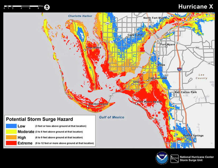 This color-coded graphic made available by the National Hurricane Center on Tuesday, May 21, 2013, shows an example of a map highlighting the greatest risk of storm surge during a storm. The National Hurricane Center will post maps like this on its website starting this hurricane season to alert residents and businesses of areas where storm surge is possible. The hurricane season goes from June 1 to Nov. 30. (AP Photo/National Hurricane Center) / National Hurricane Center