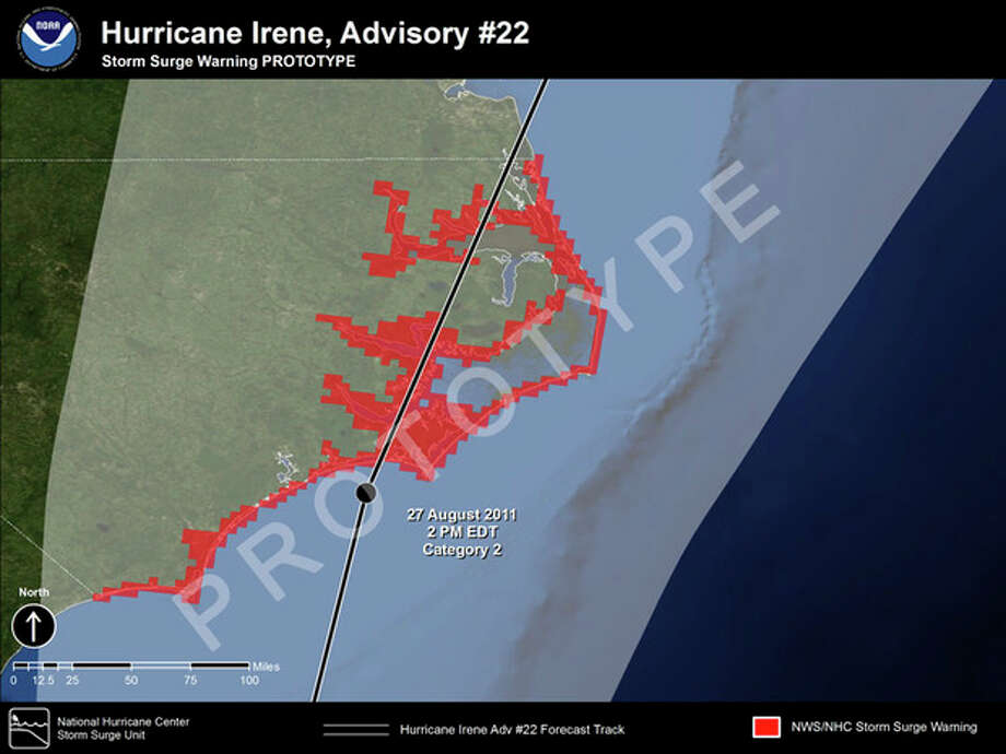 This graphic made available by the National Hurricane Center shows an example of a Storm Surge Warning graph that will be rolled out by the 2015 Atlantic Hurricane season. During a hurricane, storm surge is one of the greatest threats to life and land, yet many people don't understand the dire warnings from forecasters to get out of its way. So this season, they hope to offer easy-to-understand, color-coded maps and change the way they talk to the public. (AP Photo/National Hurricane Center) / National Hurricane Center