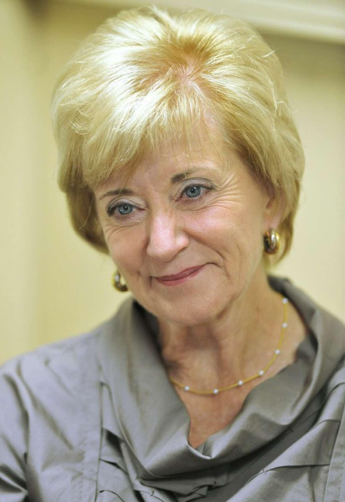 Republican candidate for U.S. Senate Linda McMahon smiles during a visit to the Naugatuck Senior center people in Naugatuck, Conn., Tuesday, Sept. 18, 2012. (AP Photo/Jessica Hill)