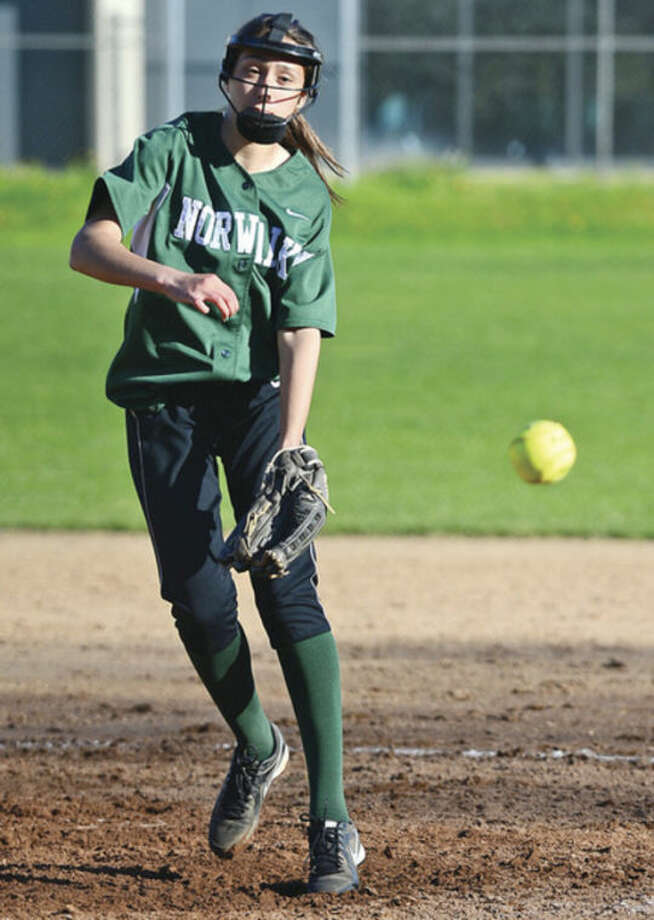 Relief pitcher Mariah Ventrella pitches during their game against New Canaan Friday.Hour photo / Erik Trautmann