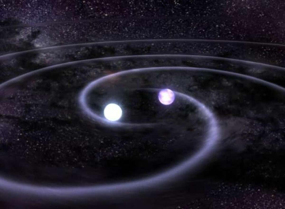 Gravitational waves are created during large scale events in space such as when two black holes collide. The waves warp time and space as predicted by Albert Einstein in his 1915 general theory of relativity.