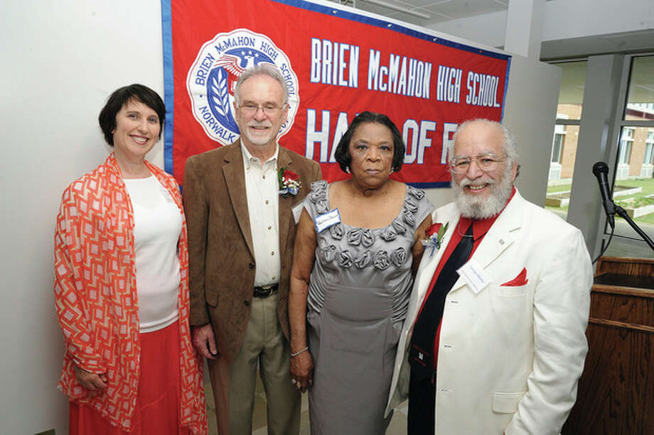Hour photo/Matthew VinciThe Brien McMahon High School Hall of Fame for 2013, from left, Dayamudra (Ann) Dennehy, Richard E. Carbone, Pearlena Whitaker-Davis, the sister of inductee Mary Whitaker McHoney, and George Albano.
