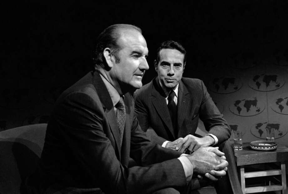 "FILE - In this Aug. 23, 1970 file photo, Sens. George McGovern, D-S.D. left, and Robert Dole, R-Kan., are interviewed on ABC's ""Issues and Answers"" in Washington. A family spokesman says, McGovern, the Democrat who lost to President Richard Nixon in 1972 in a historic landslide, has died at the age of 90. According to the spokesman, McGovern died Sunday, Oct. 21, 2012 at a hospice in Sioux Falls, surrounded by family and friends. (AP Photo/ABC Television, File) / ABC Television"