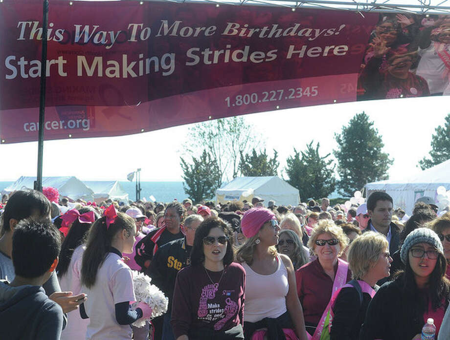 Hour photo / Matthew VinciParticipants attend the Making Strides For Breast Cancer Walk Sunday at Sherwood Island Park in Wesport. / (C)2011 {your name}, all rights reserved