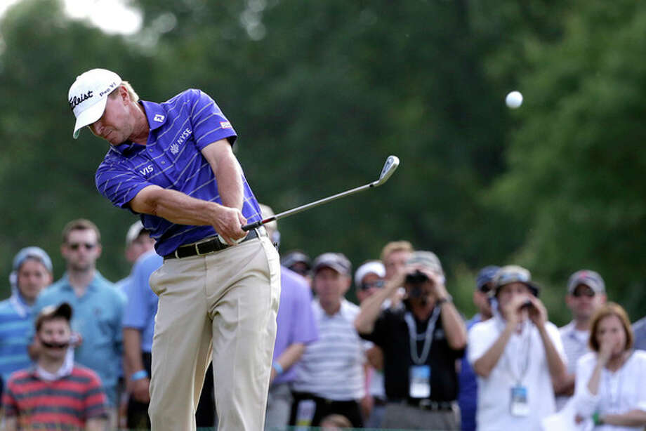 Steve Stricker tees off on the ninth hole during the third round of the U.S. Open golf tournament at Merion Golf Club, Saturday, June 15, 2013, in Ardmore, Pa. (AP Photo/Gene J. Puskar) / AP