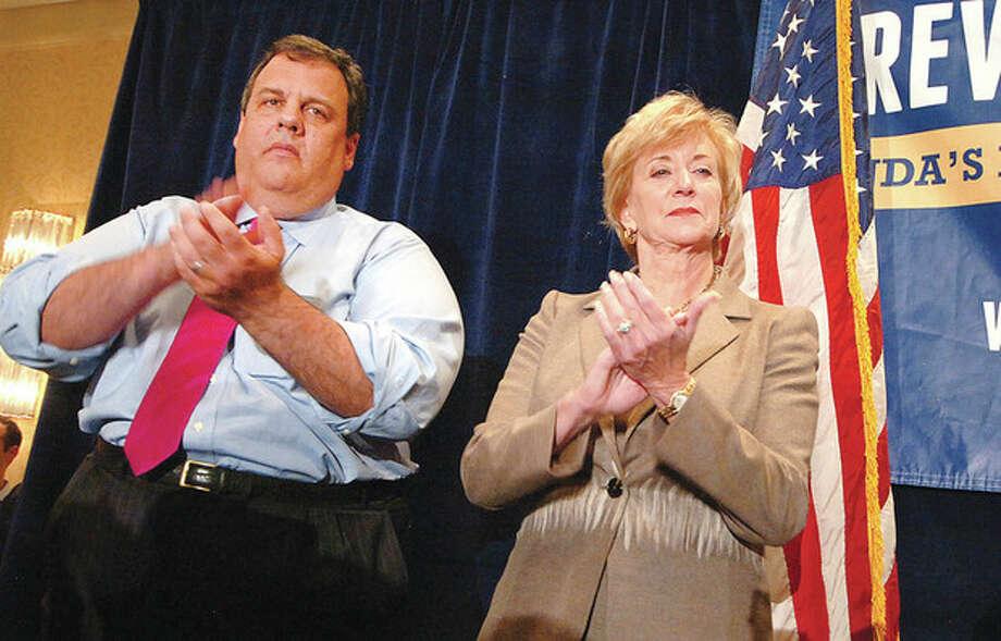 Hour Photo Alex von Kleydorff; New Jersey Governor Chris Christie for State Senator candidate Linda McMahon in Stamford Monday. / 2012 The Hour Newspapers