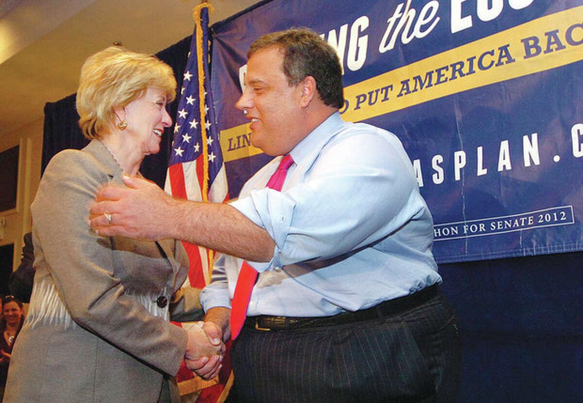 Hour Photo Alex von Kleydorff; New Jersey Governor Chris Christie for State Senator candidate Linda McMahon in Stamford Monday.