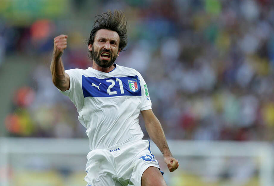 Italy's Andrea Pirlo celebrates scoring the opening goal during the soccer Confederations Cup group A match between Mexico and Italy at Maracana stadium in Rio de Janeiro, Brazil, Sunday, June 16, 2013. (AP Photo/Felipe Dana) / AP