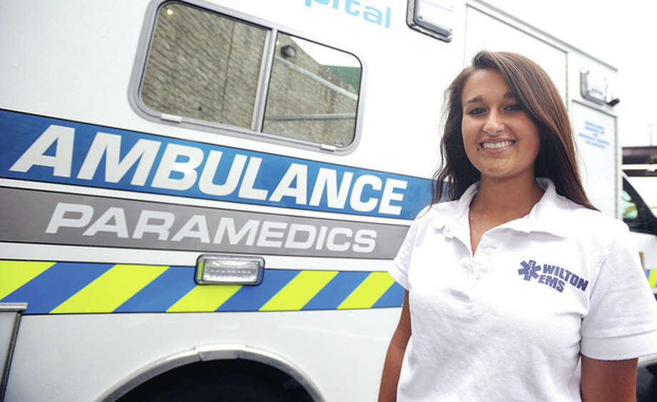 Hour photo/John NashWilton High senior tennis player Maya Srivastava has spent the last year as a certified EMT in her hometown. She has also been serving with the Norwalk Hospital paramedics.
