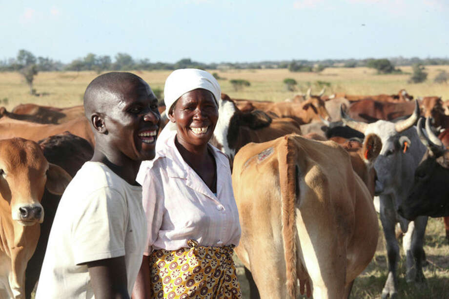 """In this photo taken Tuesday, April 23, 2013 Nerwande Chirovzvo, left, and his mother Christine stand among their cattle on land near Harare. The nation's first """"Cattle Bank"""" has just opened its books in a unique kind of banking where owners are being asked to bring in their animals as a cash deposit enabling them to withdraw and borrow money against their value while retaining ownership (AP Photo/Tsvangirayi Mukwazhi) / AP"""