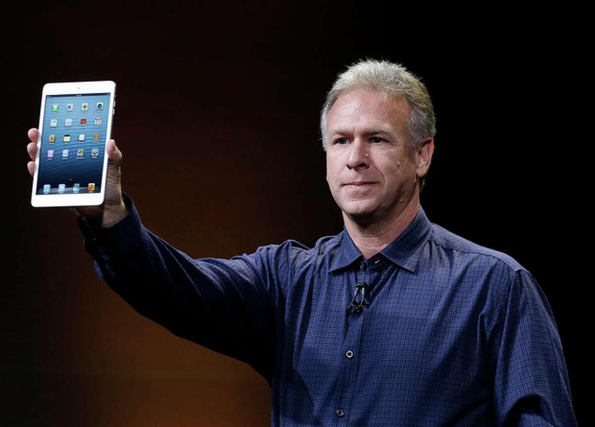 Phil Schiller, Apple's senior vice president of worldwide product marketing, introduces the iPad Mini in San Jose, Calif., Tuesday, Oct. 23, 2012. (AP Photo/Marcio Jose Sanchez)