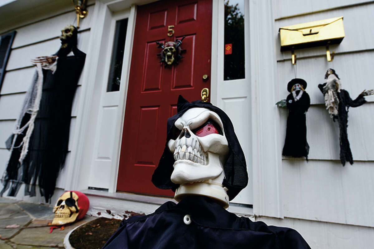 Local residents decorate their homes on Jersey Rd for Halloween. Hour photo / Erik Trautmann
