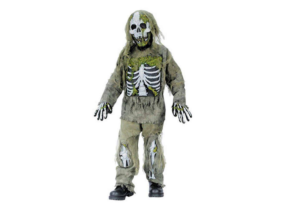 """This undated product image released by Part City shows a boys skeleton zombie costume. Catering to the popular zombie craze, Halloween costumes for young children are getting more grisly. Even costumes that were once benign now have violent twists: The sweet, simple """"sock monkey"""" is now a bloody zombie sock monkey with razor-sharp teeth, sold in sizes small enough for kindergartners. (AP Photo/Party City) / Party City"""