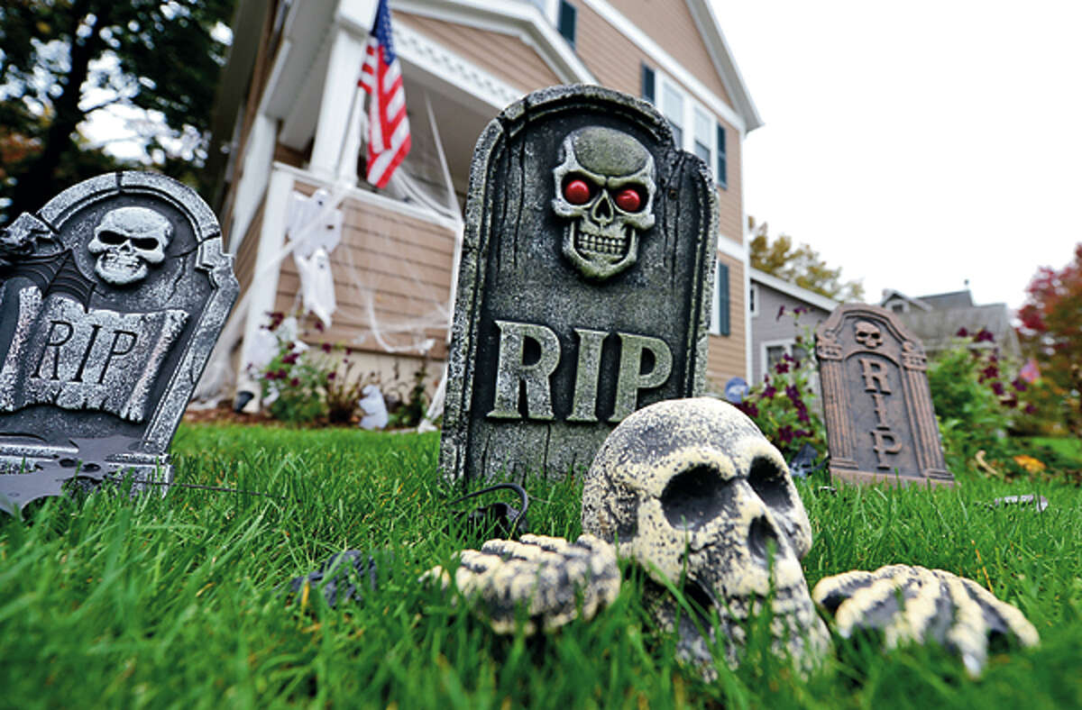 Local residents decorate their homes on Myrtle St for Halloween. Hour photo / Erik Trautmann