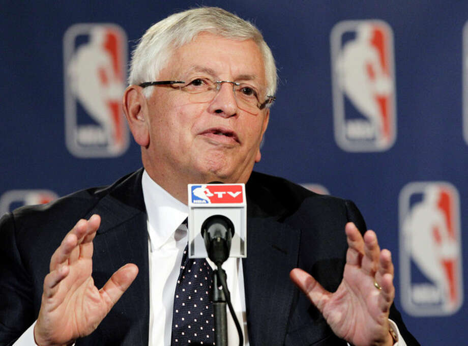NBA Commissioner David Stern speaks during a basketball news conference following Board of Governors meetings in New York, Thursday, Oct. 25, 2012. Stern announced he will retire on Feb. 1, 2014, 30 years after he took charge of the league. He will be replaced by Deputy Commissioner Adam Silver. (AP Photo/Kathy Willens) / AP