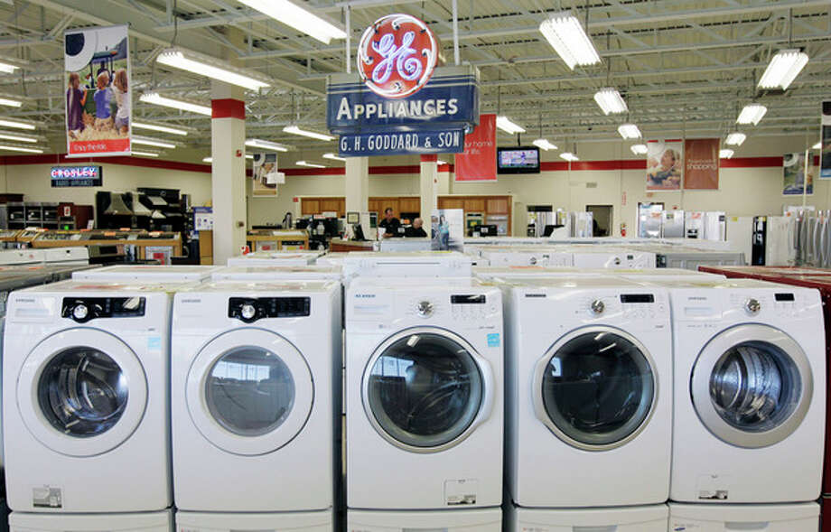 This Oct. 25, 2012 photo shows appliances on display at Orville's Home Appliances store in Amherst, N.Y. The government's snapshot Friday, Oct. 26, 2012, of the U.S. economy's growth will be its last before Americans choose a president in 11 days. It probably won't sway many undecided voters. The first of three estimates of growth for the July-September quarter will likely sketch a picture that's been familiar all year: The economy is growing at a tepid rate, slowed by high unemployment, corporate anxiety over an unresolved budget crisis and a global economic slowdown. The government's report covers gross domestic product. GDP measures the nation's total output of goods and services — from restaurant meals and haircuts to airplanes, appliances and highways. (AP Photo/David Duprey) / AP