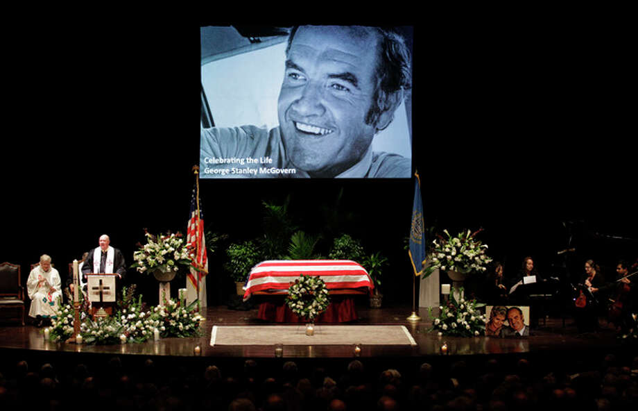 Rev. Robert Ruedebusch speaks during funeral services for former Democratic U.S. Senator and three-time presidential candidate George McGovern at the Washington Pavilion of Arts and Sciences in Sioux Falls, S.D., Friday, Oct. 26, 2012. McGovern died Sunday Oct. 21, 2012, in his native South Dakota at age 90. (AP Photo/M. Spencer Green, Pool) / AP POOL