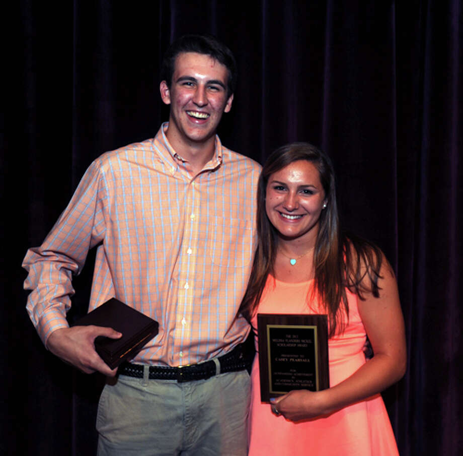 Wilton High seniors Weston Wilbur, left, and Casey Pearsall won the Corr Award and Nickel Award given out to the top student-athletes at the school.