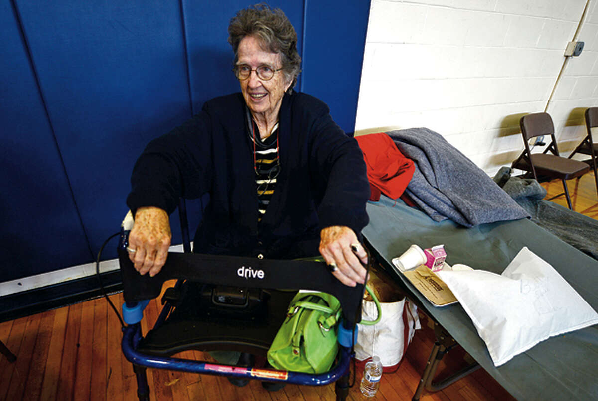 Local residents including Betty Beal who lives in Rowayton were able to use Brien McMahon High School as shelter during the storm and it's aftermath. Hour photo / Erik Trautmann
