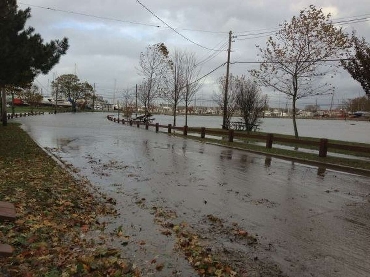 Calf Pasture remains flooded Tuesday morning