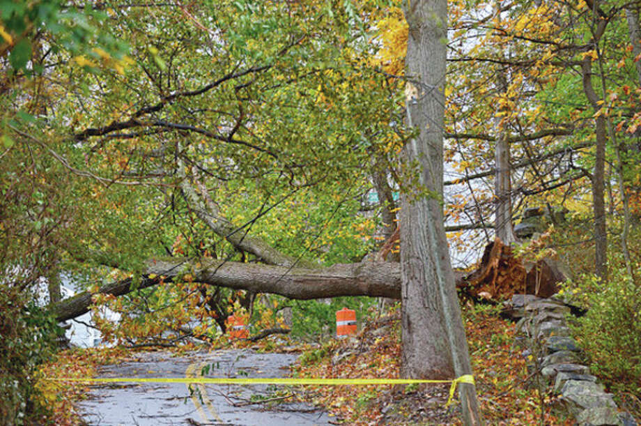 Many roads into Rowayton were block with fallen trees. Neighborhoods near the waterfront in Norwalk were inundated with storm surge and high winds bringing down trees and blocking streets.Hour photo / Erik Trautmann / (C)2012, The Hour Newspapers, all rights reserved