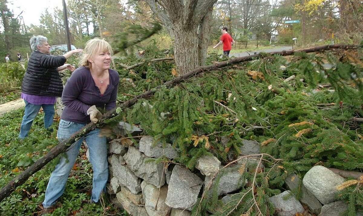 Hour Photo Alex von Kleydorff; Alison Conroy moves some cut limbs to a pile with the help of friends and neighbors in Wilton