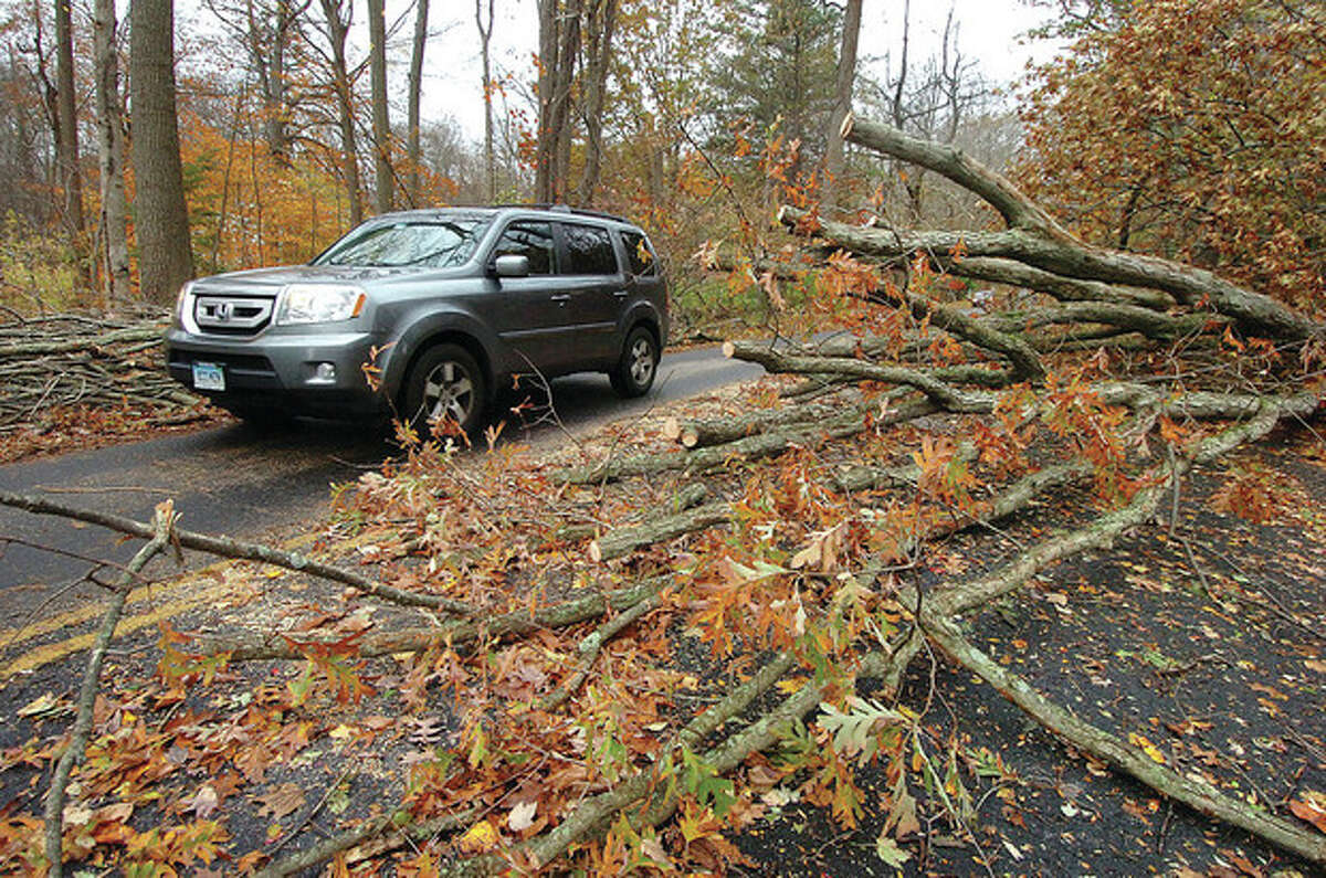 Hour photo / Alex von Kleydorff Large trees lay across Belden Hill Road in Wilton after Hurricane Sandy.