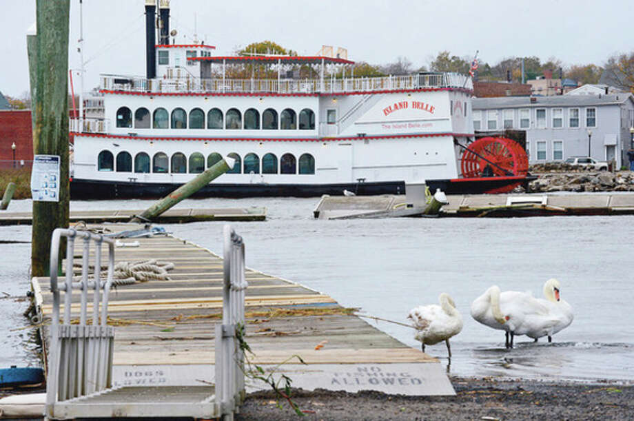 Hour photo/Erik TrautmannThe Island Belle broke loose from it's mooring at the Veteran's Memorial Park Visitor's Monday. / (C)2012, The Hour Newspapers, all rights reserved