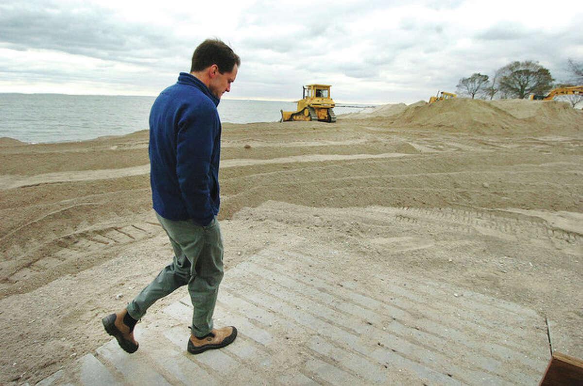 Hour Photo Alex von Kleydorff; Congressman Jim Himes tours the coastline of Westport on Wednesday morning
