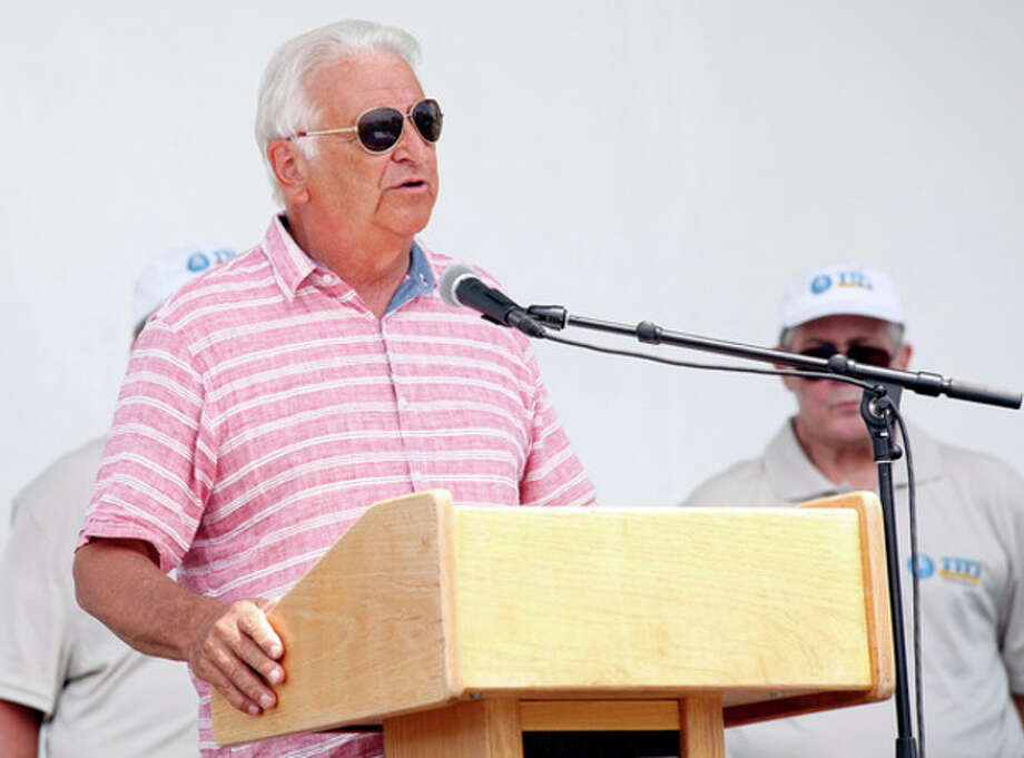 Mayor Moccia speaks during the Third Taxing District's Power On The Sound event celebrating their 100th anniversary at Calf Pasture Beach in Norwalk Saturday afternoon.Hour Photo / Danielle Calloway