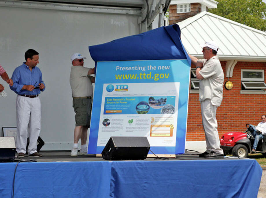A new website is revealed during the Third Taxing District's Power On The Sound event celebrating their 100th anniversary at Calf Pasture Beach in Norwalk Saturday afternoon.Hour Photo / Danielle Calloway