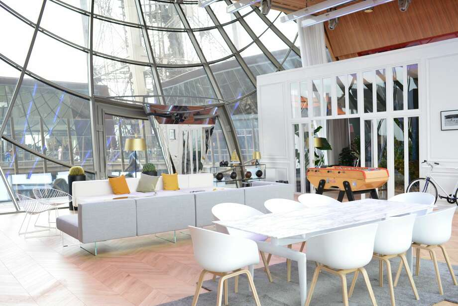 The apartment is the first to be built inside the Eiffel Tower. Construction took about 48 hours to build out a living space in the 81-story iron structure. Photo: HomeAway.com