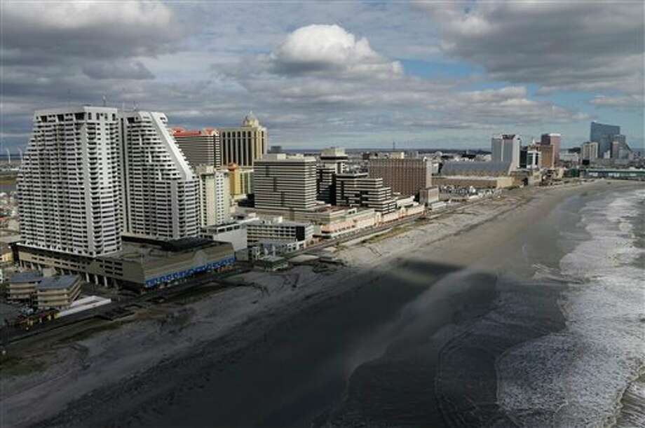 This aerial photo shows Atlantic City, N.J., after Superstorm Sandy on Wednesday, Oct. 31, 2012. (AP Photo/Mike Groll) / AP2012