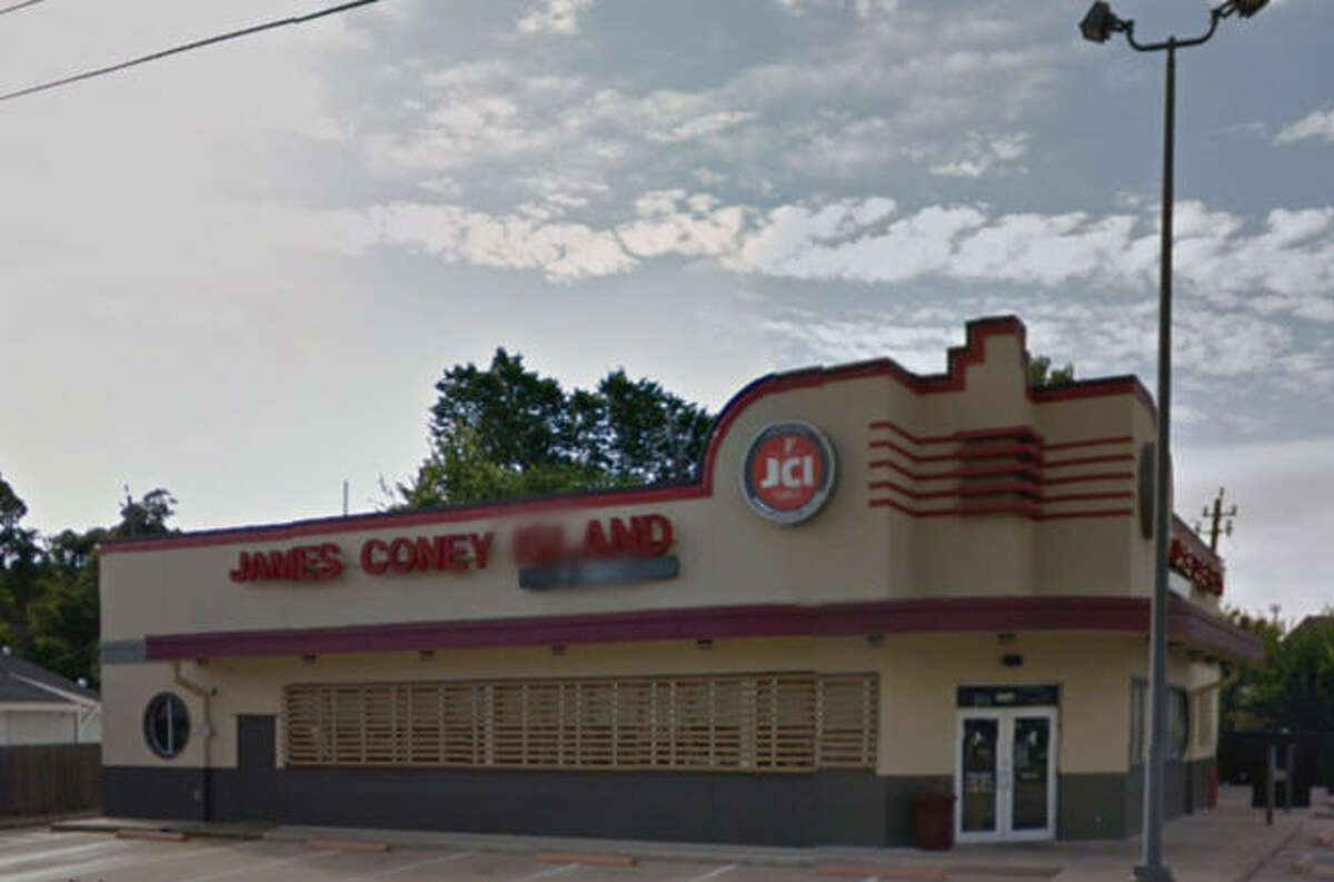 James Coney Island Address: 3607 Shepherd Dr., Houston, Texas 77098 Demerits: 13 Inspection highlights: Observed black slime/residue on ice machine deflector and at/around ice chute. Observed multiple food employees not wearing effective hair restraint.