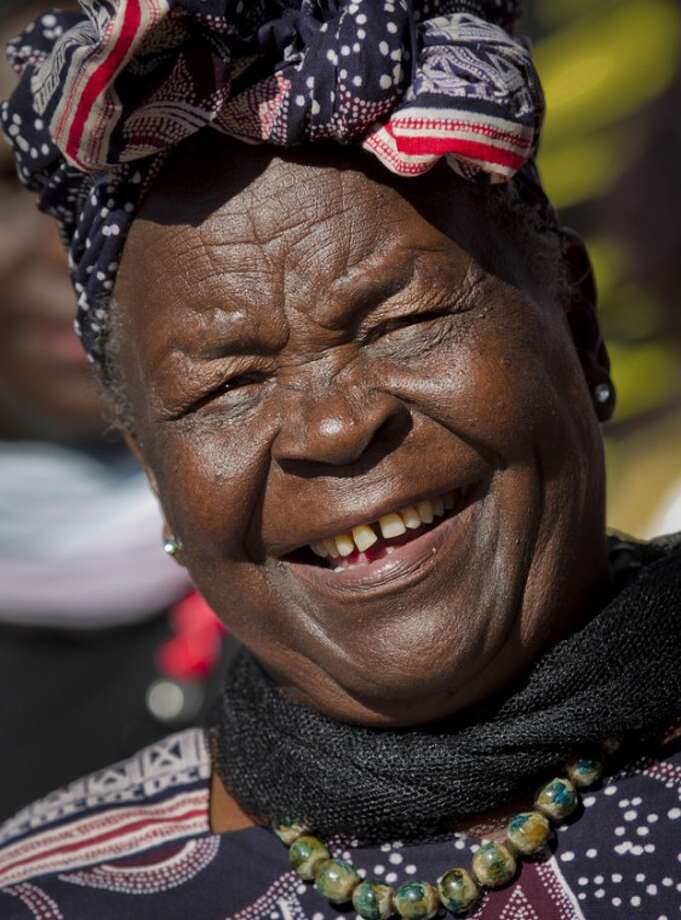 Sarah Obama, step-grandmother of President Barack Obama, speaks to the media about her reaction to Obama's re-election, in the garden of her house in the village of Kogelo, western Kenya Wednesday, Nov. 7, 2012. (AP Photo/Ben Curtis)
