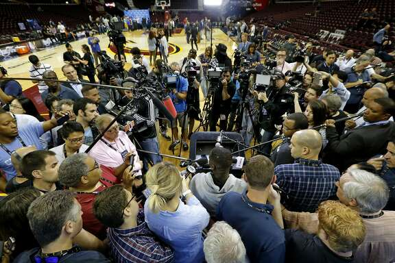 Draymond Green, (bottom center) of the Golden State Warriors during a media availability at Quicken Loans Arena in Cleveland, Ohio on Wed. June 15, 2016, as the team prepares to take on the  Cleveland Cavaliers in game 6 of the NBA Championship at Quicken Loans Arena in Cleveland, Ohio  on Wed. June 15, 2016.