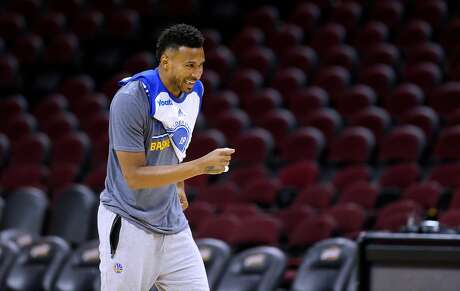 Leandro Barbosa, of the Golden State Warriors during a practice session at Quicken Loans Arena in Cleveland, Ohio  on Wed. June 15, 2016,  as the team prepares to take on the  Cleveland Cavaliers in game 6 of the NBA Championship at Quicken Loans Arena in Cleveland, Ohio  on Wed. June 15, 2016.