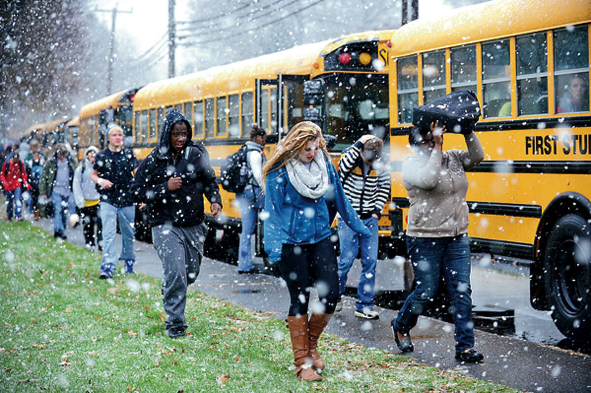 Norwalk students get a half day of classes after returning to school today for the first time since October 26th. Hour photo / Erik Trautmann