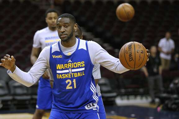 Ian Clark, of the Golden State Warriors during a practice session at Quicken Loans Arena in Cleveland, Ohio  on Wed. June 15, 2016, as the team prepares to take on the Cleveland Cavaliers in game 6 of the NBA Championship at Quicken Loans Arena in Cleveland, Ohio  on Wed. June 15, 2016.