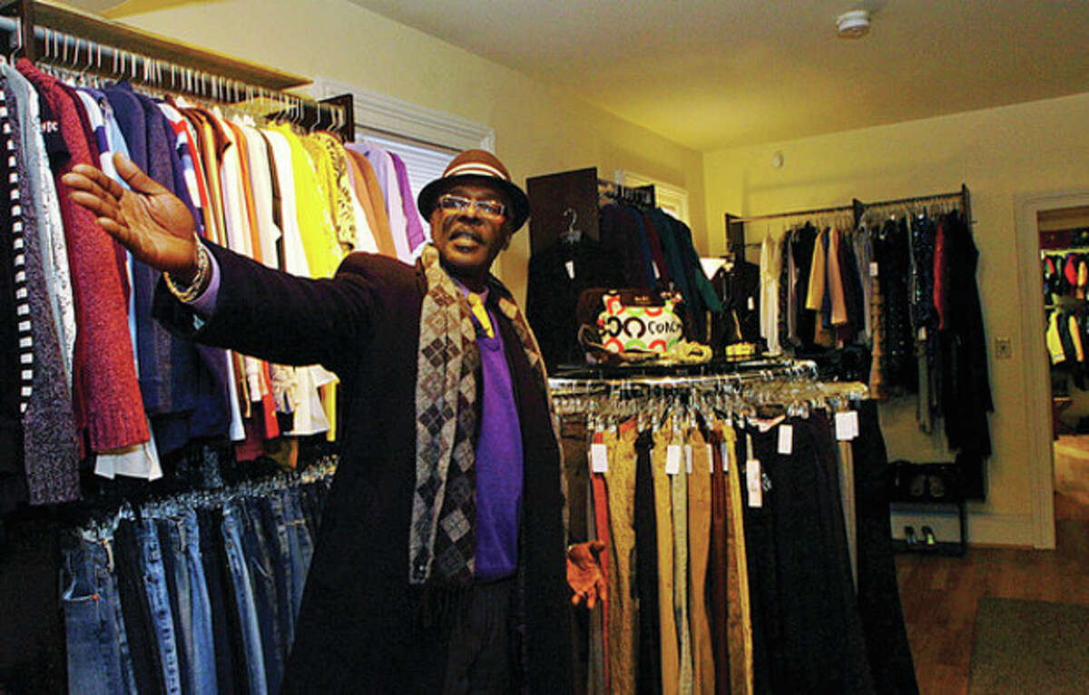 Joe Mann, former President/CEO of NEON, tours the agency's new thrift boutique on Haviland St. in South Norwalk two years ago.