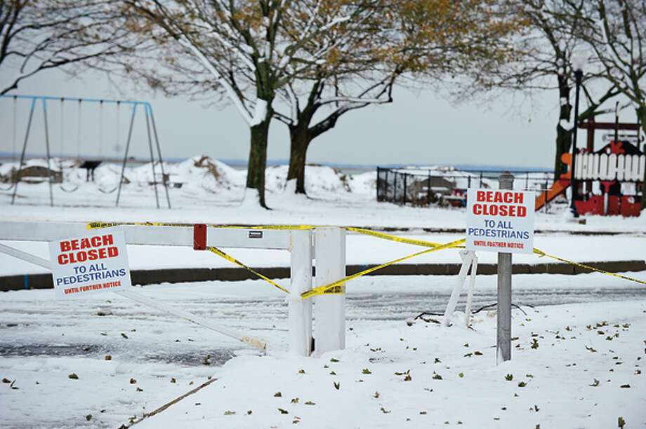 A week after a devastating hurricane Norwalk and after a Nor' Easter left several inches of snow on the ground Thursday Calf Pasture Beach remains closed. Hour photo / Erik Trautmann / (C)2012, The Hour Newspapers, all rights reserved