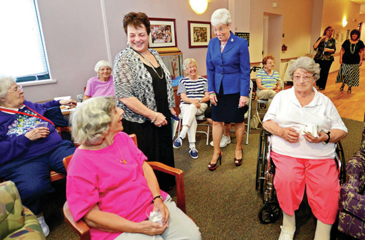 Hour photo / Erik Trautmann Lt. Gov. Nancy Wyman visits The Marvin Tuesday and also meets with residents.