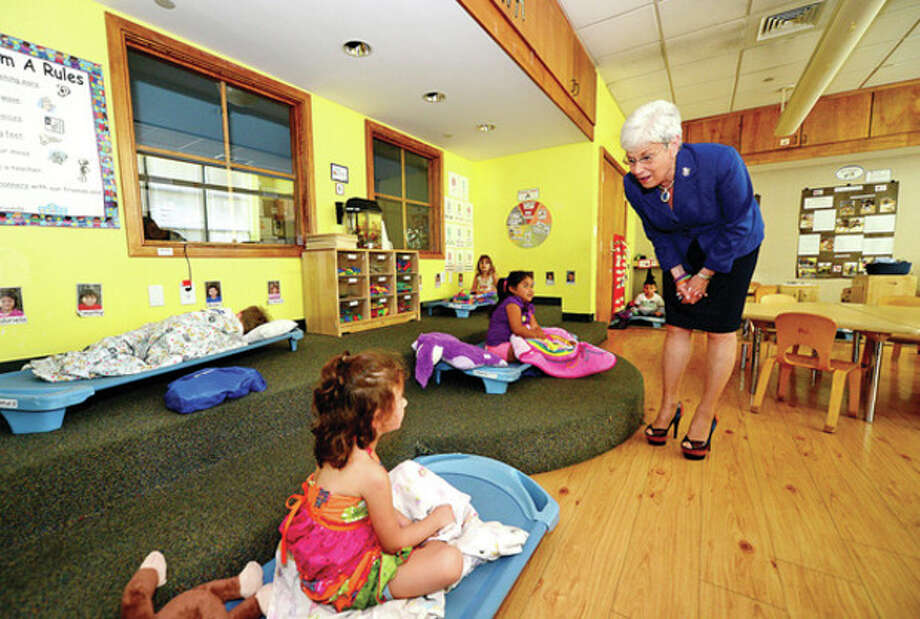 Hour photo / Erik TrautmannLt. Gov. Nancy Wyman tours The Marvin Children's Center Tuesday with executive director Mary Windt and meets with children to hear firsthand about the positive impact The Marvin makes for them. / (C)2013, The Hour Newspapers, all rights reserved