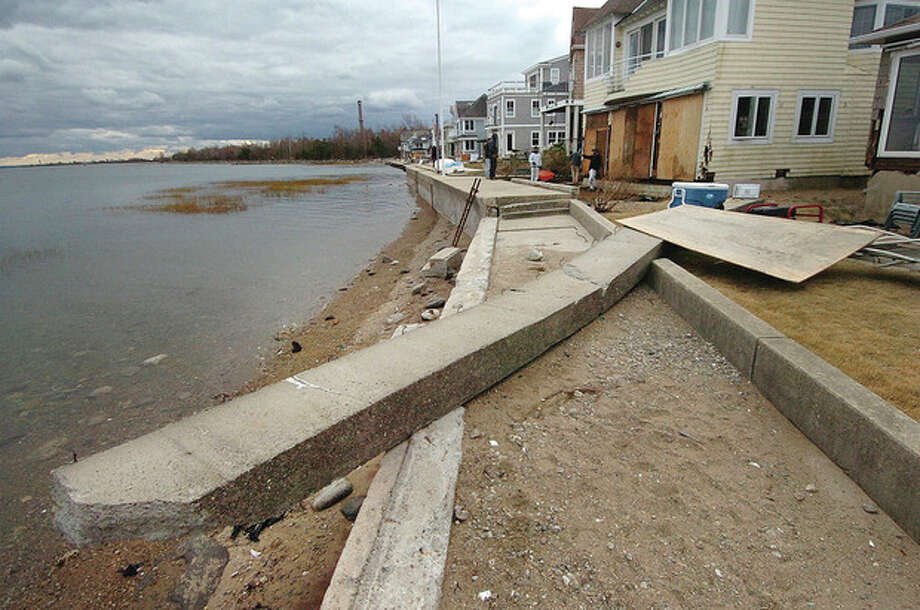 Hour photo / Alex von KleydorffDamage to the sea wall at the Harbor View neighborhood in Norwalk. / 2012 The Hour Newspapers