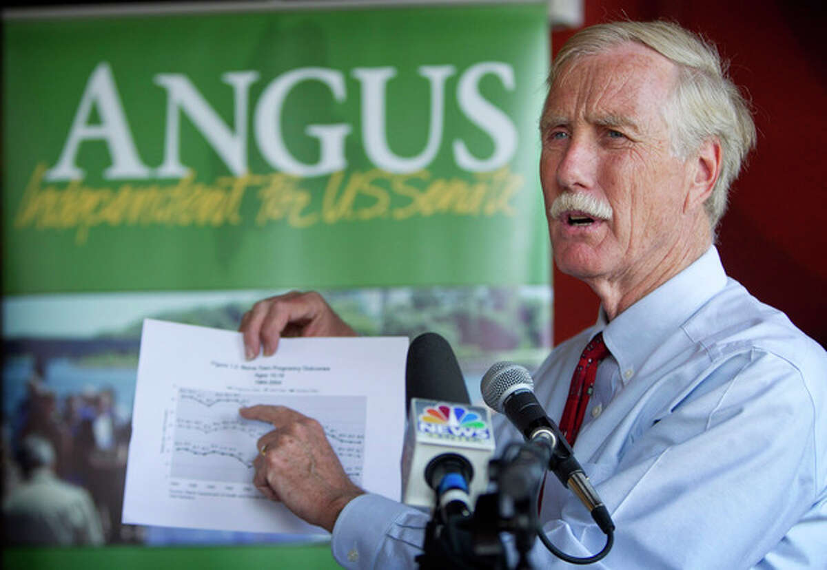 FILE - In this Aug. 17, 2012 file photo, Maine independent Senate candidate Angus King speaks at a news conference in Brunswick, Maine. Add this to your set of Election Day unknowns: Control of the United States Senate could conceivably come down to King who has resolutely refused to say which party he?'d side with if voters send him to Washington. While it?'s commonly accepted that King, a former Democrat who supports President Barack Obama, would align with Democrats, he has refused to say. That?'s generated suspense and, in theory, could translate to power for King if the Senate ends up close to a 50/50 split. If one party ends up with a decisive majority, King may end up with less leverage than he hopes. (AP Photo/Robert F. Bukaty, File)