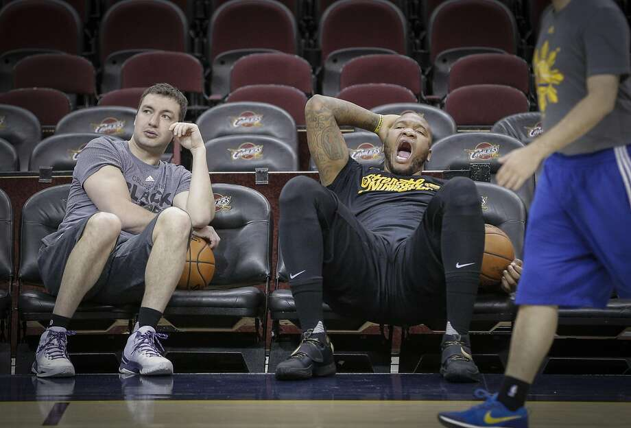 Marreese Speights, right, yawns while he talks with Assistant Coach Chris DeMarco during practice before Game 6 of the NBA Finals at The Quicken Loans Arena on Wednesday, June 15, 2016 in Cleveland, Ohio.during Game 6 of the NBA Finals at The Quicken Loans Arena on Wednesday, June 15, 2016 in Cleveland, Ohio. Photo: Carlos Avila Gonzalez, The Chronicle
