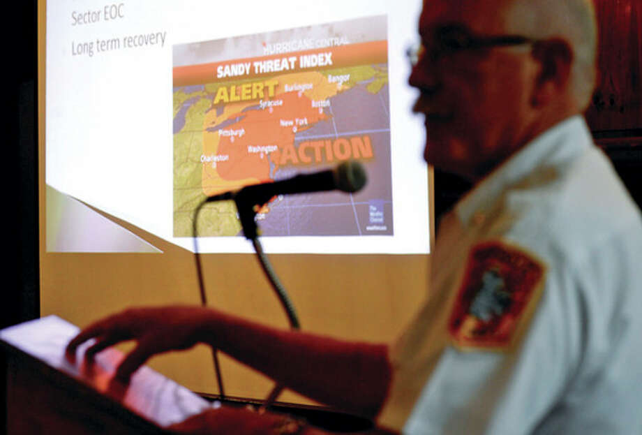 Norwalk Fire Chief Denis McCarthy speaks during a business preparedness and disaster recovery workshop presented by The SCORE Association (Service Corps of Retired Executives), The Greater Norwalk Chamber of Commerce and City of Norwalk in the City Hall Community Room Thursday morning.Hour photo / Erik Trautmann / (C)2013, The Hour Newspapers, all rights reserved