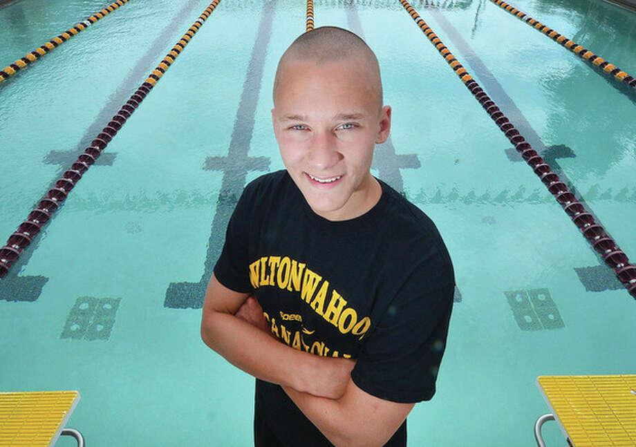 Hour Photo/Alex von KleydorffSwimmer Stephen Holmquist at the Wilton Family Y pool
