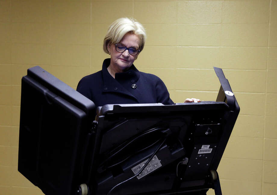 U.S. Sen. Claire McCaskill, D-Mo., votes at her polling place, Kirkwood Community Center, Tuesday, Nov. 6, 2012, in Kirkwood, Mo. McCaskill is running for reelection against Republican challenger Rep. Todd Akin, R-Mo. (AP Photo/Jeff Roberson) / AP