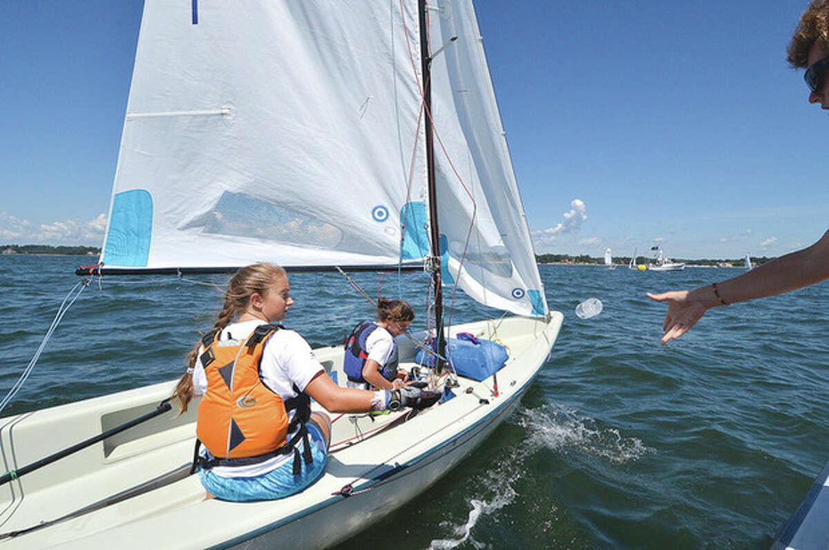Hour Photo/Alex von Kleydorff. A few bottles of water for the Norwalk Yacht Club competitors